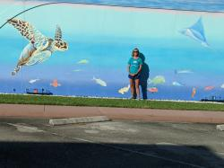 One of several murals in town