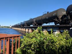 One of many daily trains going right by the marina