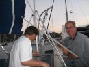 Dave Pelton and I working on the boat.
