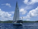 crystal at sail: Crystal sailing into coral bay in St. John
