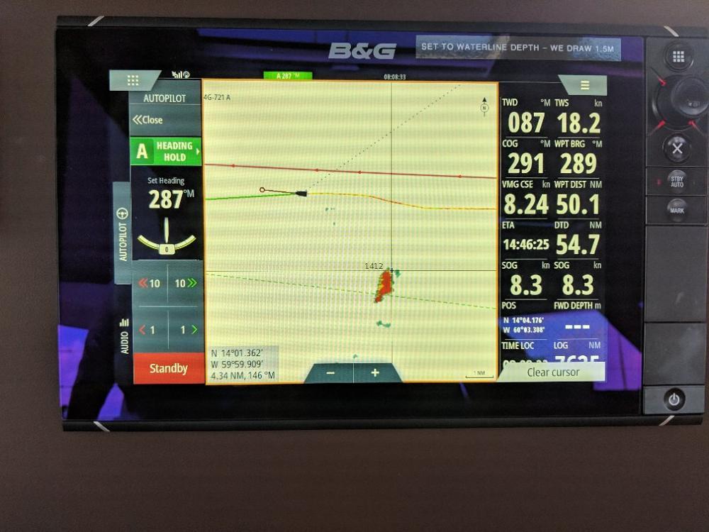 Squall showing on radar