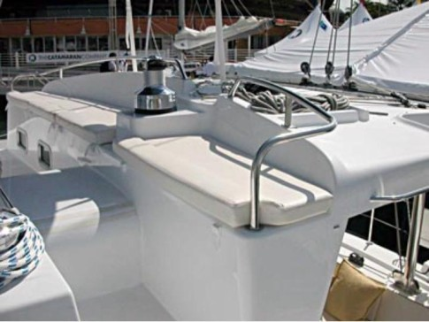 The Helm Seats 5 to 6 People.: The helm is large and comfortable.  There is room for five to six people.  Being up high, it is ideal to view the reefs and coral heads when you enter a lagoon or anchorage.