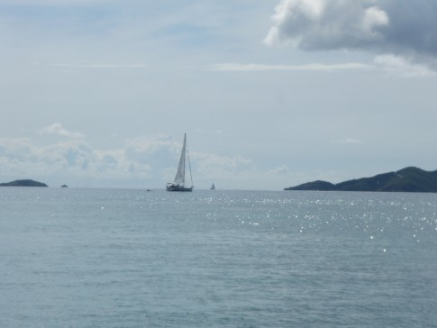 Sailboat on its way to St. Johns island, U.S.V.I