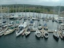 Shelter Bay from up the mast....this is the marina on the Caribbean side....waiting for our appt to transit