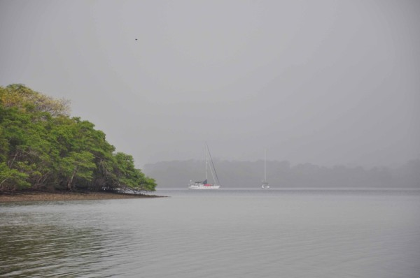A rain squall passes over us at anchor in Bahia St. Elena, Costa Rica