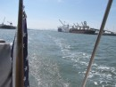 Heading out past the Alameda Estuary during the test sail.