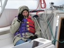 The day of the test sail it was a little cold out there. Here