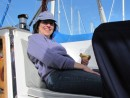 The Admiral enjoying her first glass of wine on Venture. Of course it was a vintage Kistler