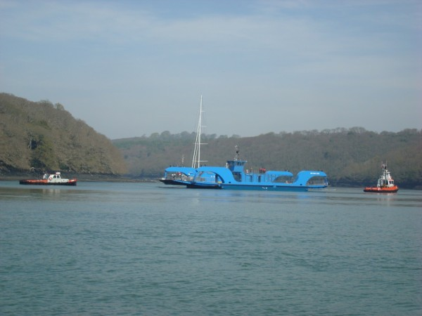 The King Harry ferry being towed back after a refit, River Fal