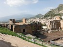 Teatro Greco with Mt. Etna smouldering in the background