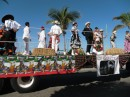 Folkloric dancers on a truck