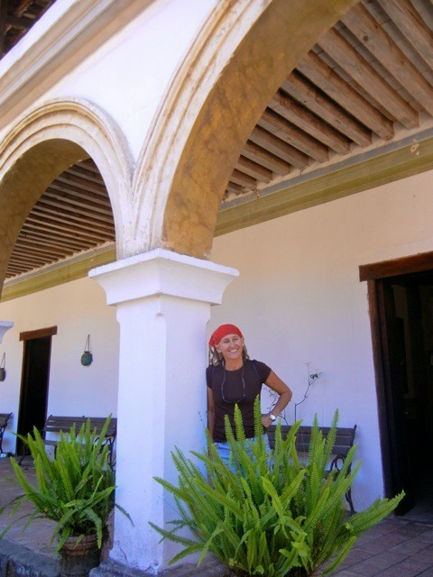 This is April our guide standing on the porch of Hacienda Jalisco. April was very knowledgeable about the region.