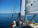 Sailing along very slowly to Partida.