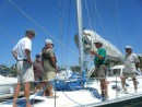 The foredeck crew gets directions from the skipper