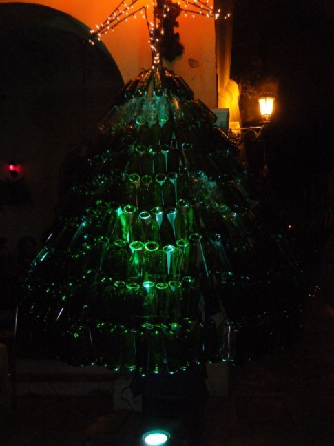 Christmas tree made of wine bottles