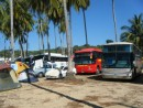 Some of the 40 buses that brought all the Mexican tourists to the village