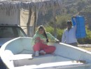 Bahia Agua Verde - girl in fishing boat with papa in the background