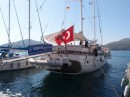 Turkish boats (Gullit) with day trippers visit Leros