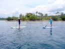 Maynard and Vicki stand up paddle boarding