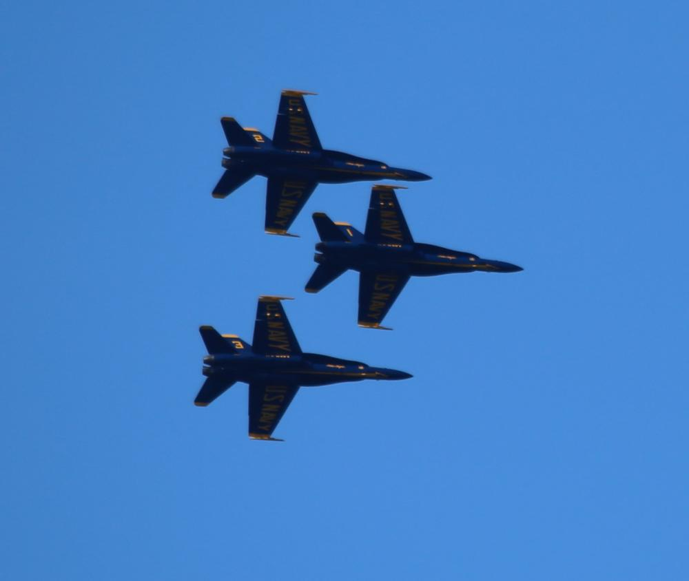 Blue Angels F/A - 18 hornets in the Brunswick Air Show, 2016