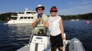 Maynard and Vicki celebrating picking up our first mooring on Vanish which just happens to be David Marlow