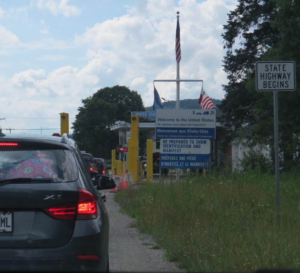 Approaching the US border from the Canadian side near Canaan.