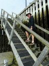 At low tide, you can walk up these stairs at the marina.