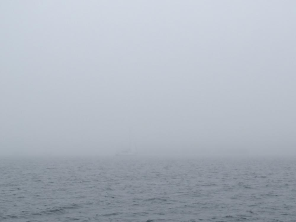 Look carefully.  Rosehearty is anchored in the fog.  She is 56 meters.
