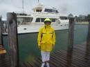 Vicki looking happy with our efforts to secure Vanish at Port Lucaya Thu evening 25 Oct 12, 1 day before Hurricane Sandy.