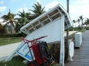 Sign blown over in the 90 mph winds at the Old Bahama Bay Marina, West End, Grand Bahama