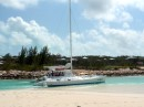 Catamaran ran aground departing the channel at Turtle Bay Marina