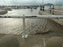 This photo shows the water from the roundabout on Bastidas Street flowing into the marina and out to sea
