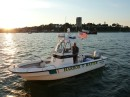 Harbor Master Kevin Battle back to say hi to Vanish in Portland Harbor, Maine, USA