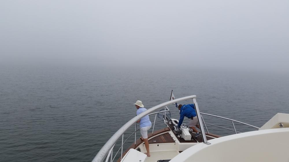 Orient, Long Island anchorage: Raising the anchor in very thick fog