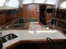 The Hunter 41DS features an very open and inviting configuration tying the galley to the salon.