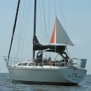 The FinDelta riding sail shown on this boat is easy to deploy and works great at minimizing the swing radius while at anchor.