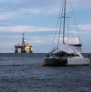 Well, there goes the neighborhood! Sharing the anchorage at Chaguramas with an oil drilling rig.