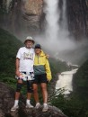 Linda and the bionic pilot at the base of Angel Falls.