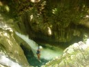 Linda taking a leap of faith into one of the 27 waterfalls in the DR