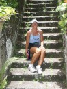 Linda on the steps of the old sugar mill on Nevis