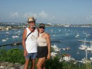 Linda and I at the fort above Marigot Bay, St Martin.