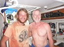Phil off of Bonne Femme with Scott.  He was faithful to send me emails every other day of the 9 days they were both en route from Fanning to Samoa.