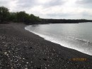 Black Sand.  It was ok to walk on, but just beyond  the beach...