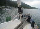 Scott rigged up the new roller furling, installed amsteel to the main sail to repair the