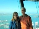 Smiling tourists on the Sky Tower observation deck.