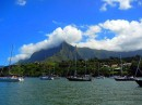 The crowded anchorage in Tahauku Bay, just outside Atuona, Hiva Oa.