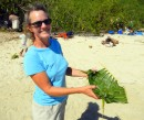 Cyndi shows off a palm frond serving piece.