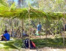 The villagers prepared a covered seating area for the picnic.