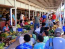 Busy stalls on the outside of the market, but still under cover- it does rain in Fiji!
