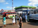 The bus stop in Labasa - right next to the market; very convenient!